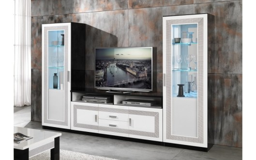 40 sur ensemble vitrine meuble tv laqu noir blanc strass tea d co meuble. Black Bedroom Furniture Sets. Home Design Ideas