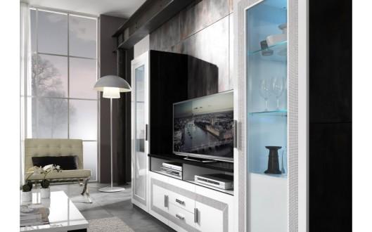 40 sur ensemble vitrine meuble tv laqu noir blanc for Meuble tv combine